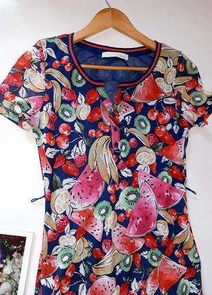 Брендовое платье футболка oui принт фрукты4 фото