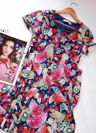 Брендовое платье футболка oui принт фрукты5 фото