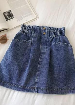 Юбка джинсовая на резинке голубая синяя юбочка