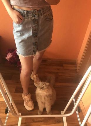 🌿джинсовая юбка с пуговицами