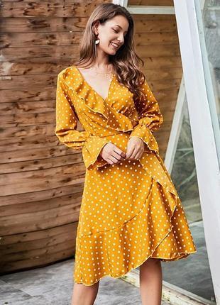 Новое летнее платье в горошек на запах