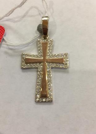 Серебряный крестик с золотой пластинкой