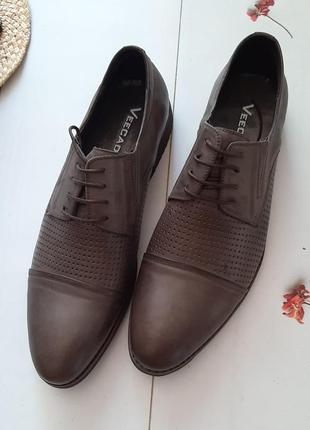 Кожаные лёгкие летние туфли с перфорацией