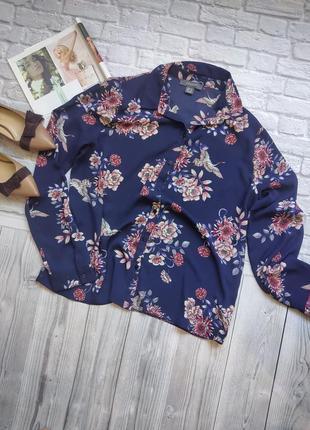 Нежная  шифоновая блузка в цветочный принт