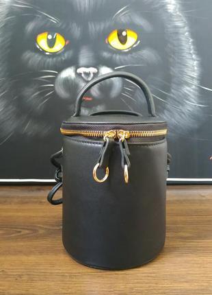 Сумка боченок кроссбоди рюкзак клатч новая черная с золотом круглая orsay