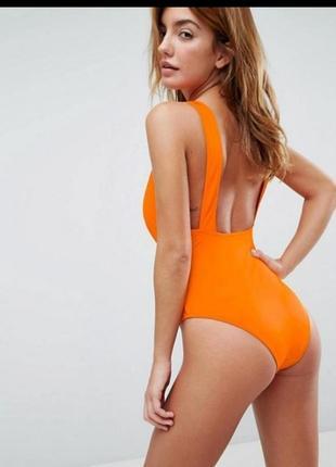 Яркий оранжевый купальник женский бикини монокини сдельной сплошной