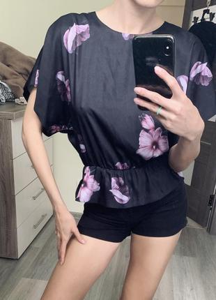 Блуза открытая спина цветы рубашка летучая мышь блузочка кофта