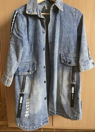 Джинсовая курточка с лампасами. джинсовка