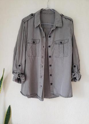 Новая лиоцелловая блуза рубашка next оттенка хаки