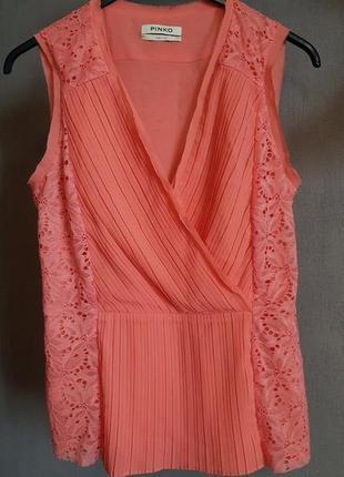 Нарядная, очень эффектная  коралловая блузка pinko, оригинал
