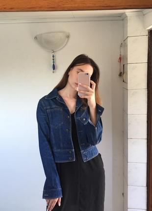 Укороченная джинсовка куртка джинсовая4 фото