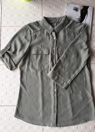 Актуальная рубашка цвета хаки блуза