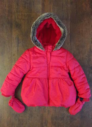 Теплая куртка с варежками m&s девочке 1.5-2 года