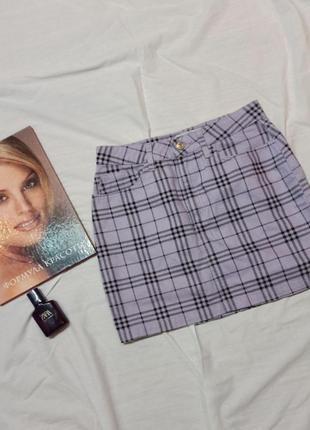 Джинсовая юбка в клетку лавандовая
