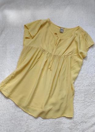 Трендовая лимонная блузка, свободная, беби долл