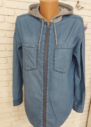 Джинсовая рубашка с капюшоном h&m ,оверсайз