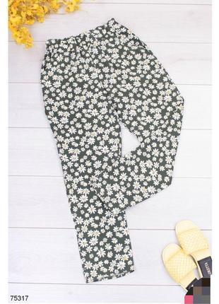 Брюки женские штаны штани с высокой посадкой завышенной талией на резинке зелено-белые зелёные зеленые зелені в цветочный принт с ромашками