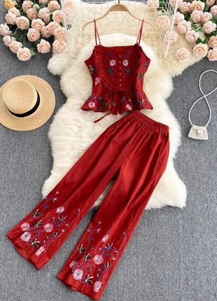Кирпично-красный костюм брюками, коттоновый костюм с вышивкой майка-топ + укороченные штаны