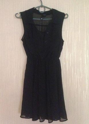Легкое летнее маленькое черное платье, сарафан, шифон. р. xs, s.h&m