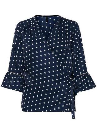 Стильная блузка  в горошок на запах размер s