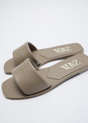 Новые кожаные шлёпки zara