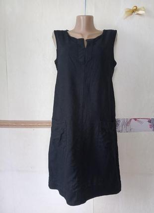 Льняное платье с карманами р.12-40