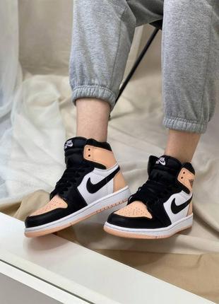 ⚪️ nike air jordan retro high peach/black/white ⚪️ кроссовки найк аир джордан наложенный платёж купи