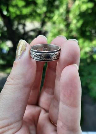 Винтажное серебряное кольцо кубачинская чернь