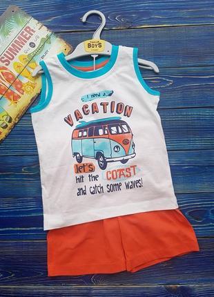 Летний, яркий набор для мальчика майка и шорты на 2-3 года matalan