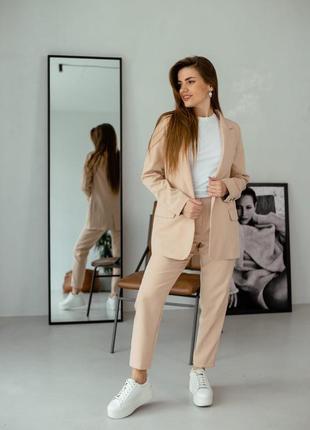 Брючный костюм женский со штанами классический лето пиджак