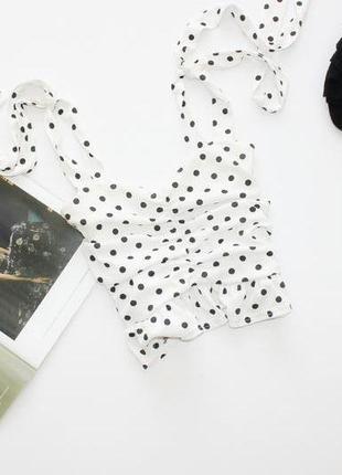 Красивая блуза белая в горох топ 14хл