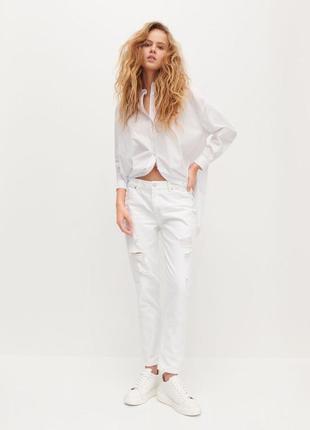Белые джинсы с потёртостями h.u.n.t
