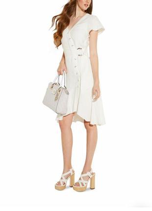 Льняное платье лён с воланами миди белое guess