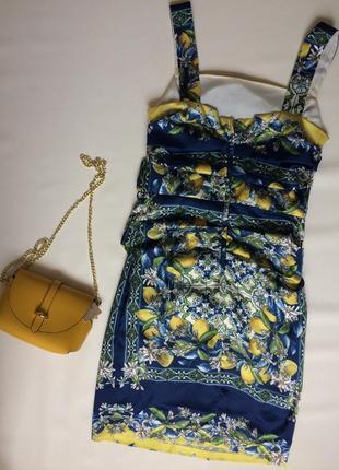 Сарафан летний синий с цветочным принтом