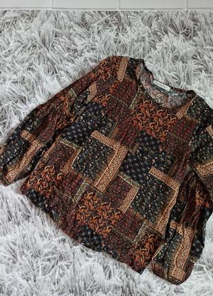 Блуза in front brown, блуза в абстрактный принт вискоза