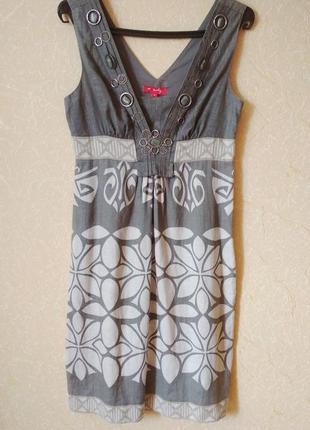 Платье - футляр из льна в необычайно красивый принт
