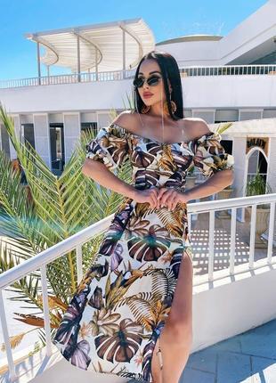 Платье с открытыми плечами тропический принт