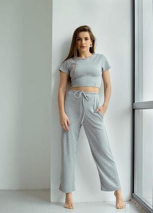 Костюм женский со штанами футболкой брюки серый прогулочный