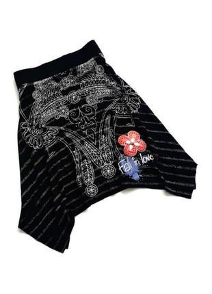 Ассиметричная красивая юбка юбочка desigual бохо хиппи вышивка цветы принт