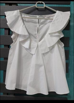 Базовая белая кофточка блуза блузка натуральная хлопковая с воланами zara