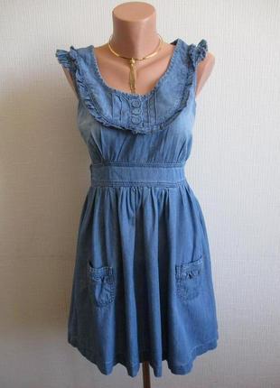 Sale ! джинсовое хлопковое платье с воланами f&f