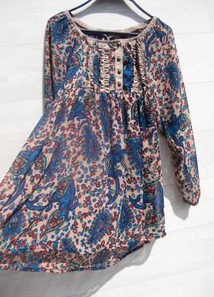 Туника шифоновая полупрозрачная разноцветная синяя цветочный принт