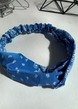 Повязка жіноча блакитна хлопок, повязка женская летняя голубая узоры