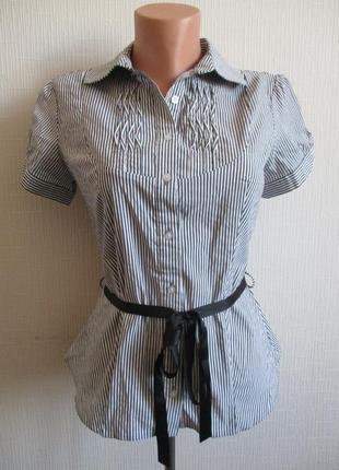 Хлопковая рубашка в полоску с коротким рукавом c.m.d.