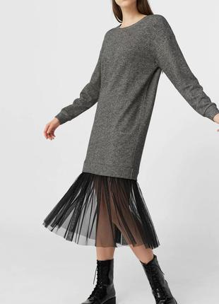 Платье свитер со вставкой из тюля mango 36/s 38/m