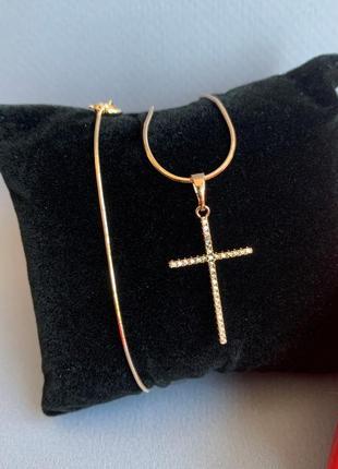 Женская цепочка с крестиком, крестик золотой женский медицинское золото xuping