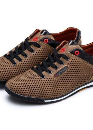 Мужские кожаные летние туфли - кроссовки коламбия
