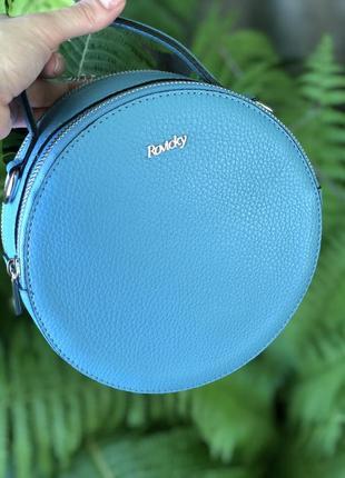 Кожаная сумка италия twr-71 голубая