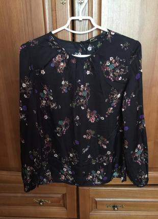 Блуза кофточка шёлк в принт цветы massimo dutti  l m 40 размер