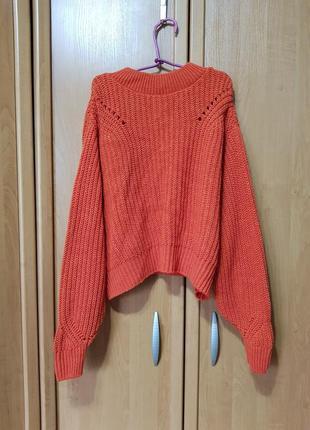 Стильный вязаный свитерок, морковный свитер, кофта оверсайз